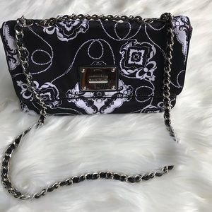 WHBM Black/White Floral Purse w/ Chain Link Strap.